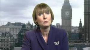Harriet Harman in butterfly brooch.