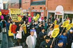 Anti Nazi League ( aka ANAL ) on march through Oldham in 2010. A collection of local misfits and social inadequates.