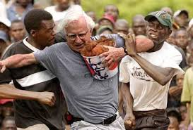 Going through a crowd of blacks with a bucket of fried chicken wasn't a smart move.