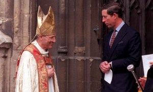 The retired bishop and paedophile Peter Ball, pictured with his close friend Prince Charles in 1992. Prince Charles provided the disgraced pervert with a free luxury home on his estate.