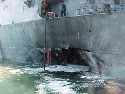 USS Cole attacked in Yemen 12 October 2000. Originally claimed as an Al Qaeda suicide bombing.