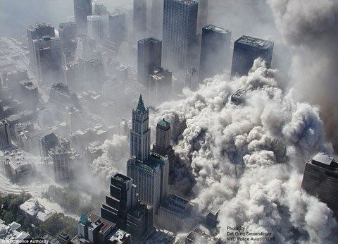 Twin Towers terrorist attack 11th September 2001 in New York.