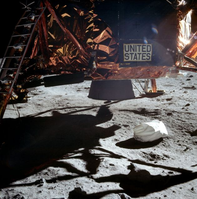 NASA photograph of a LEM allegedly on the Moon's surface. As can be clearly seen no dust has been displaced by the reverse thrust rockets which were allegedly used.