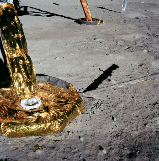 Another NASA photograph of a LEM allegedly on the Moon's surface. It can again be clearly seen no dust has been displaced by the reverse-thrust rockets which were allegedly used.
