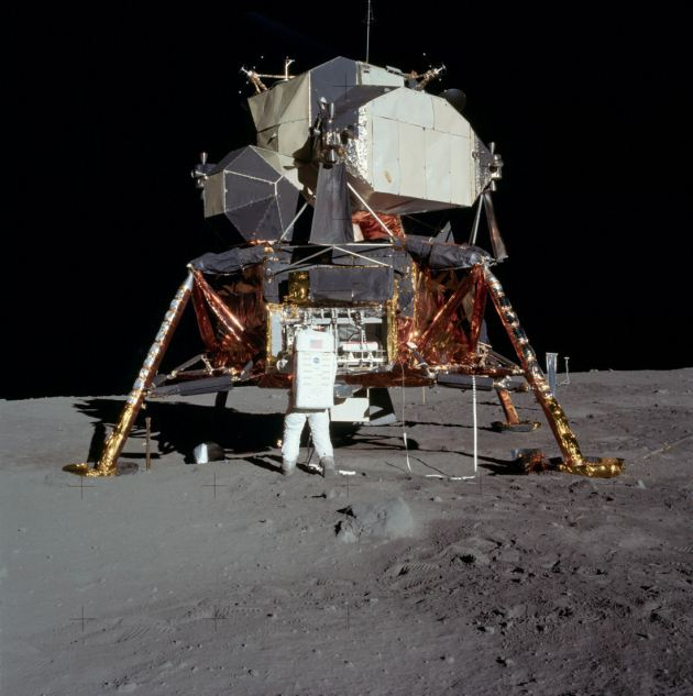 Photograph of a LEM on the Lunar surface released by NASA.