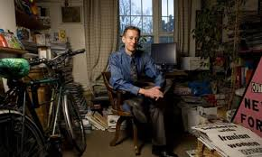 Peter Tatchell in his Council flat.