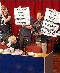 Peter Tatchell and his homosexual/paedophile allies often attacked the Christian Church for having Christian values. There is no record of him bursting in to a synagogue or mosque to protest against their religous values.
