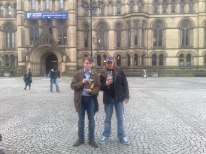 BNP activists openly leaflet outside Manchester Town Hall (AKA The Kremlin)