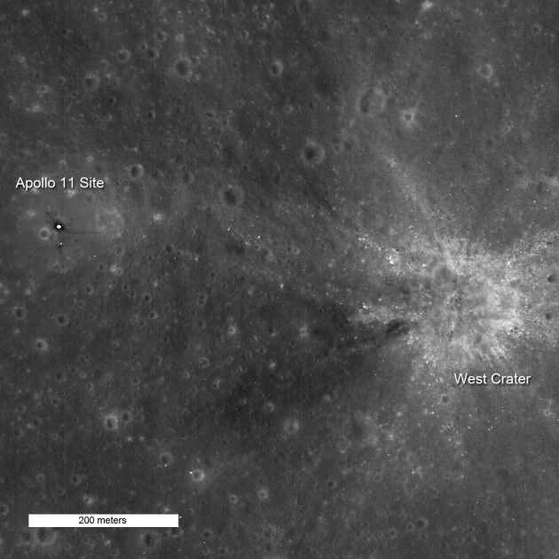 NASA claim that these photos from 200 metres up clearly show the Apollo 11 landing site and the bottom half of the LEM.