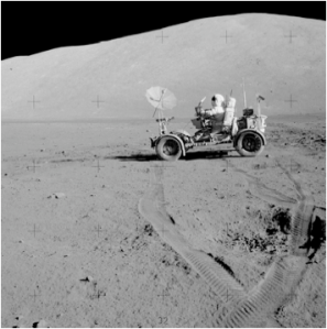 A still photograph from the Apollo 17 Mission.