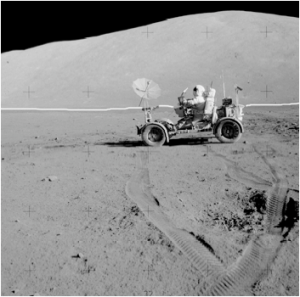 The same photo from Apollo 17 with a line showing the back of the set.