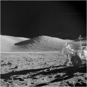 The same photo from Apollo Mission 17 with a line indicating where the set ends and the Scotchlite Front Projection Screen begins.