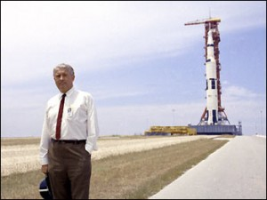 Werner Von Braun with the Saturn V rocket carrying the Apollo 11 Lunar Mission in 1969.